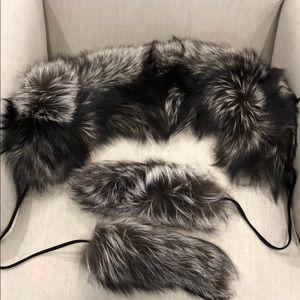 Gucci fox fur scarf with dangles